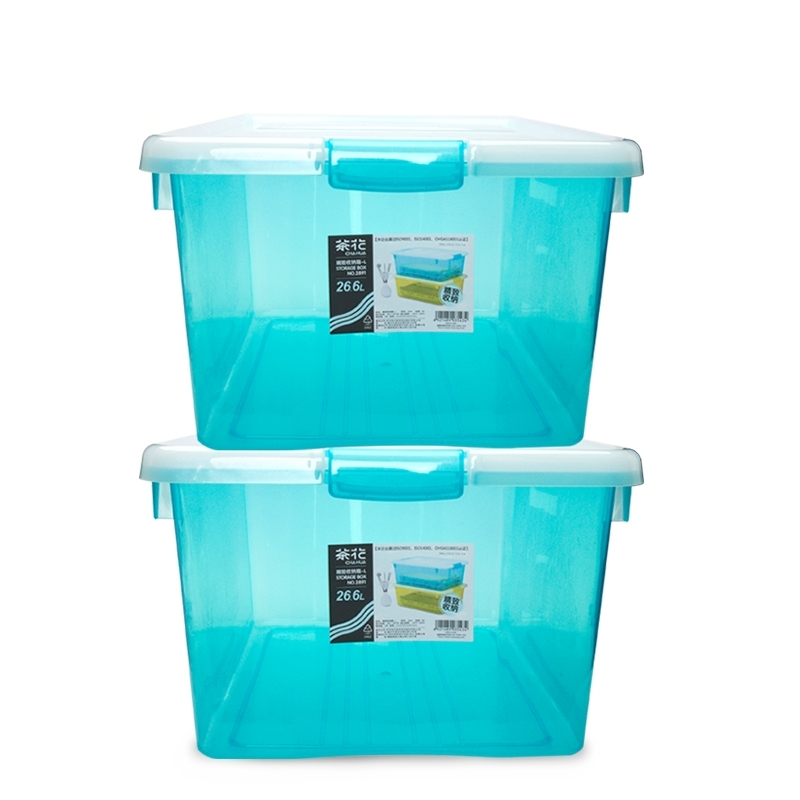 茶花加厚塑料收納箱衣服玩具塑料整理箱大中小號儲物箱周轉箱 25.4元